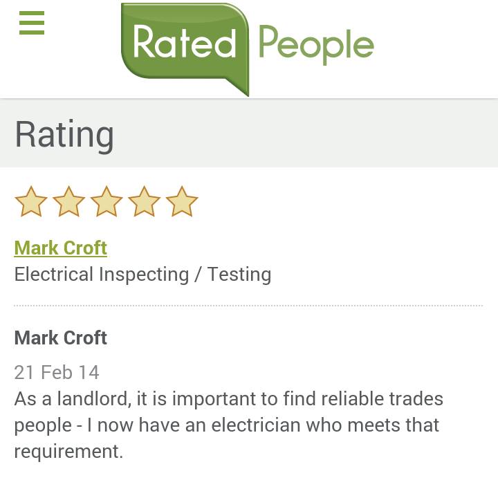 Testimonials for Electrician on the wirral